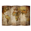 Fine Asianliving Fine Asianliving Room Divider Privacy Screen 6 Panel Retro World Map L240xH180cm