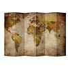 Fine Asianliving Kamerscherm Scheidingswand B240xH180cm 6 Panelen Wereldmap