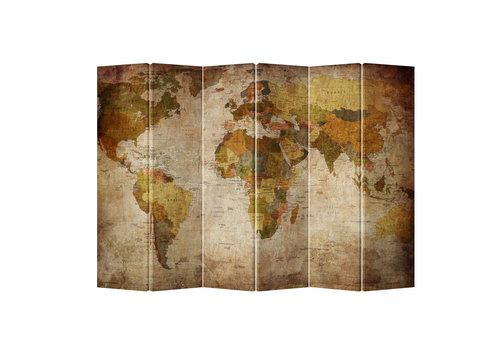 Fine Asianliving Fine Asianliving Room Divider Privacy Screen 6 Panel Retro World Map (240x180cm)