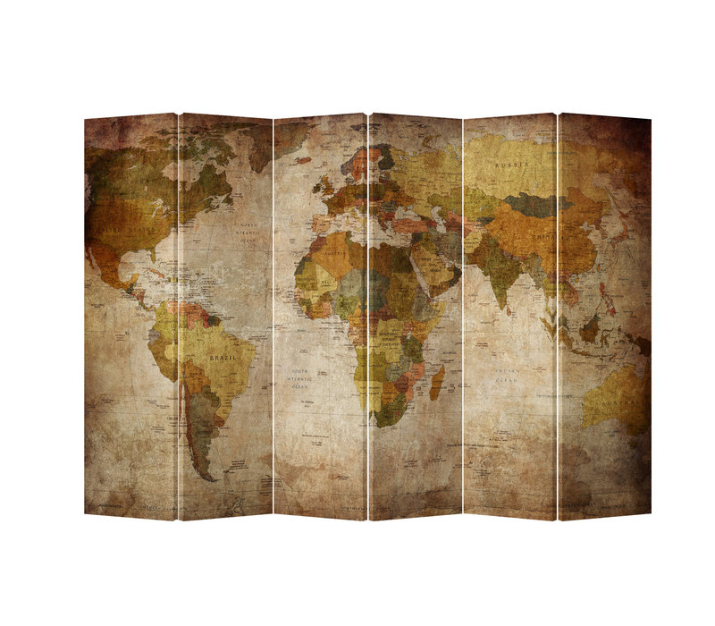 Kamerscherm Scheidingswand 6 panelen Wereldmap L240xH180cm