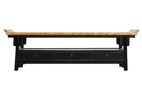 Fine Asianliving Mueble TV Chino con Cajones Negro Qiaotou Anch.180 x Prof.40 x Alt.55 cm