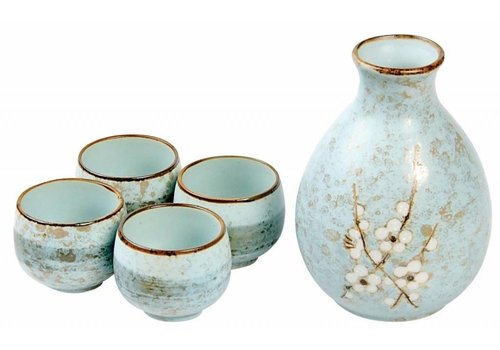 Fine Asianliving Japanese Soshun Sake Set Matte Blue