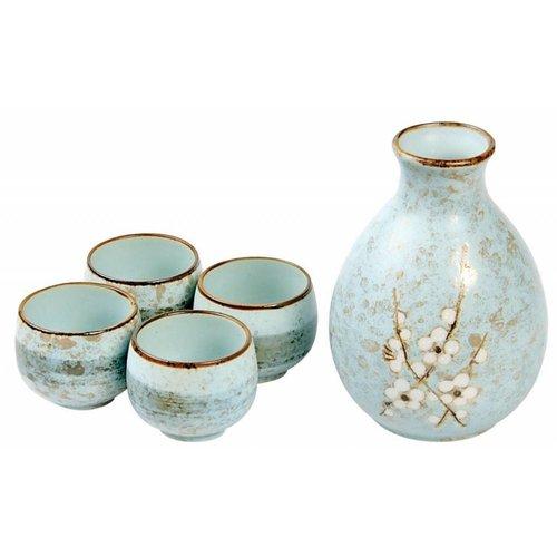 Japanese Soshun Sake Set Matte Blue