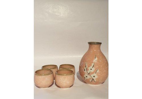 Fine Asianliving Japanese Soshun Sake Set Matte Pink