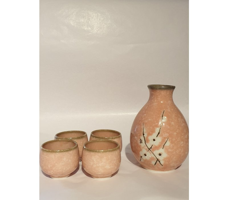 Japanese Soshun Sake Set Matte Pink