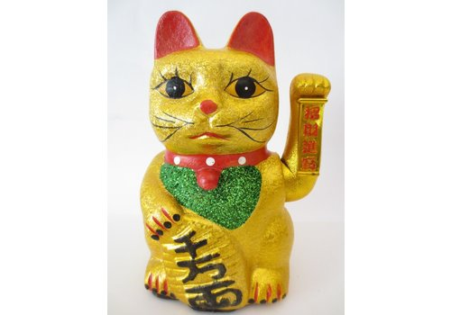 Fine Asianliving Chinese Lucky Cat Gold Glitter Waving 27cm