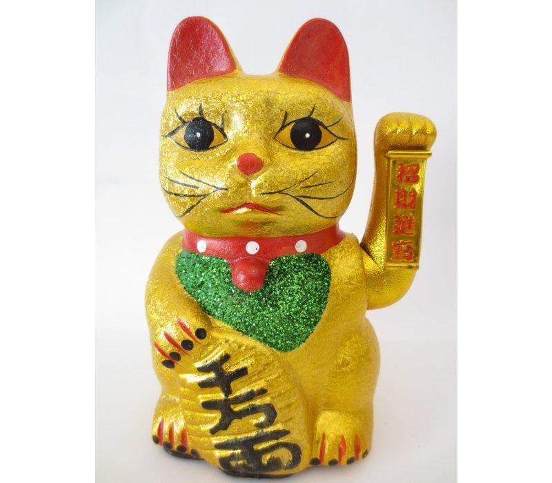 Chinese Lucky Cat Gelukskat Goud Glitter 27cm