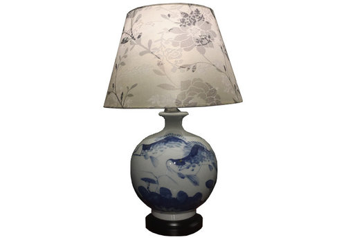 Fine Asianliving Chinese Table Lamp Porcelain Koi Fishes