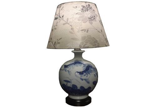 Fine Asianliving Lampe à Poser en Porcelaine Chinoise Poissons Koi