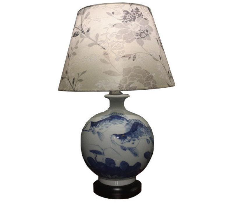 Chinese Table Lamp Porcelain Koi Fishes