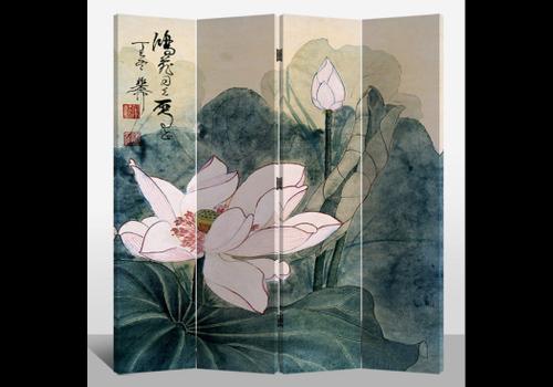 Fine Asianliving Fine Asianliving Chinees Kamerscherm Oosters Scheidingswand 4 Panelen Retro Lotus L160xH180cm