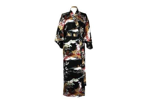 Fine Asianliving Fine Asianliving Japanse Kimono Katoen Zwart Met Ukiyoe Details