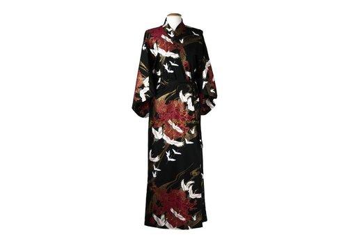 Fine Asianliving Fine Asianliving Japanse Yukata Kimono Cranes Black Handmade Japan