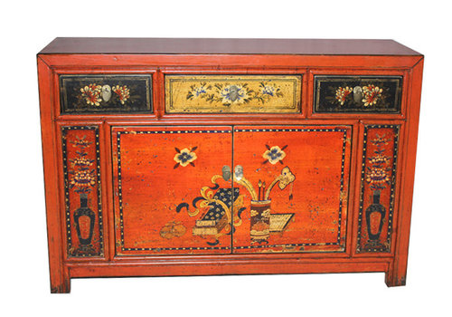 Fine Asianliving Fine Asianliving Orange Chinese Dresser White Flowers And Calligraphy Paintings