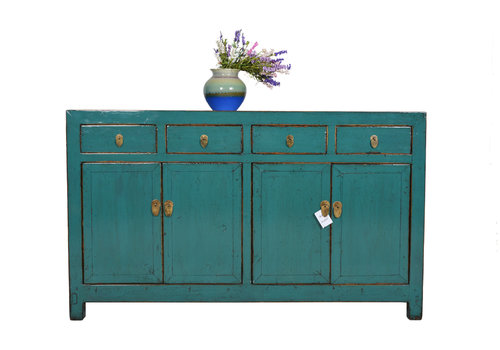 Fine Asianliving Fine Asianliving Antiek Teal Chinees Dressoir Vier - Dongbei, China