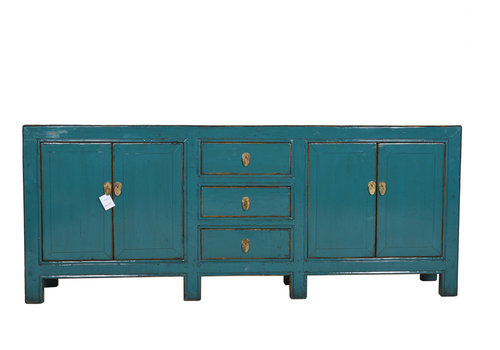 Fine Asianliving Fine Asianliving Antique Teal Chinese Sideboard Eight Legs  - Gansu, China