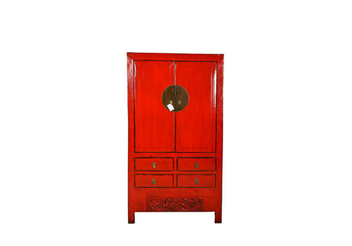 Fine Asianliving Fine Asianliving Chinese Cabinet White Details Red  - Shanxi, China
