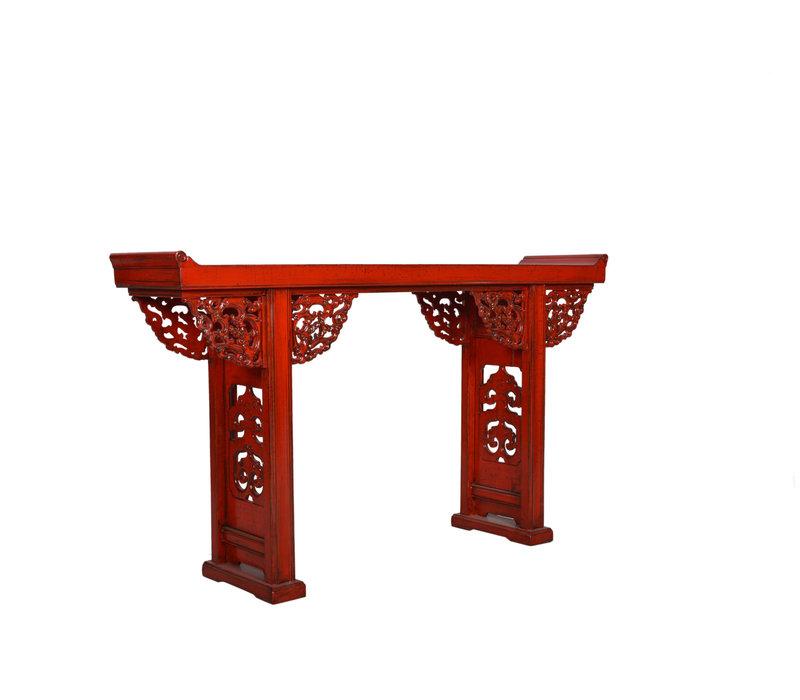 Chinesischer Konsolentisch Beistelltisch Details Rot