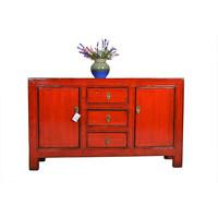 Buffet Chinois Antique Asianliving Rouge 3 tiroirs - Gansu