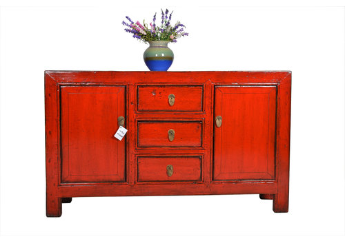 Fine Asianliving Buffet Chinois Antique 3 Tiroirs Rouge - Gansu, Chine