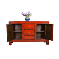 Fine Asianliving Antique Chinese Sideboard Red 3 drawers - Gansu, China