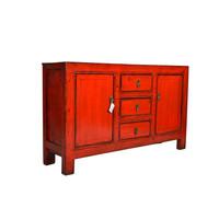 Fine Asianliving Antiek Chinees Dressoir Rood 3 lades  - Gansu, China