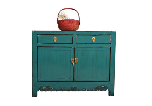 Fine Asianliving Antikes Chinesisches Sideboard Kommode Klein Aquamarin - Shandong, China
