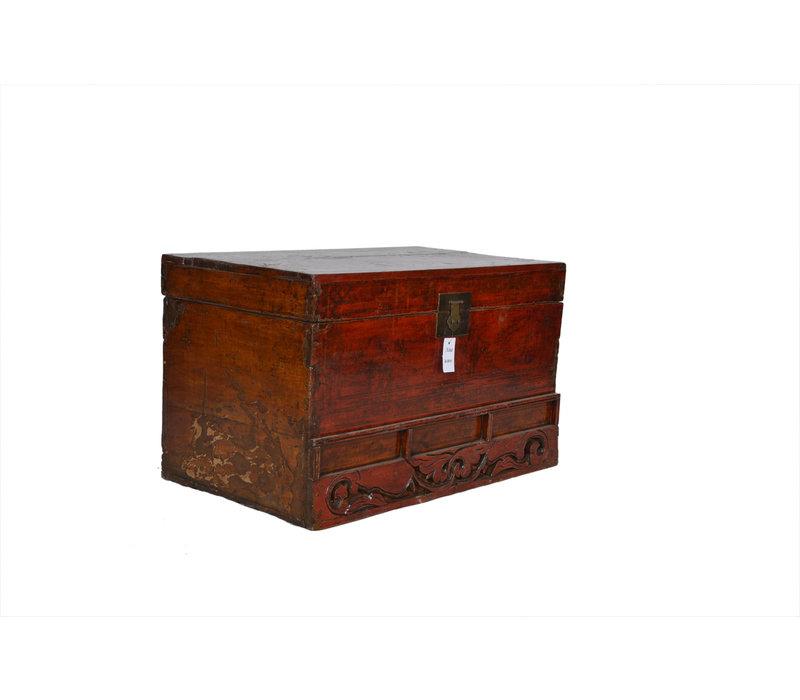 Antieke Kist Met Details - Shandong, China