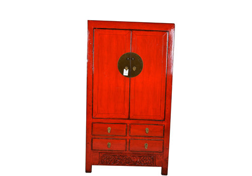 Fine Asianliving Fine Asianliving Antique Red Chinese Bridal Cabinet Flower  - Shanxi, China