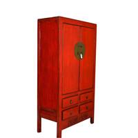 Fine Asianliving Antieke Chinese Rode Bruidskast B102xD49xH188cm