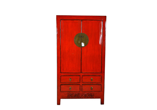 Fine Asianliving Antique Chinese Wedding Cabinet Red Handcrafted W102xD49xH188cm