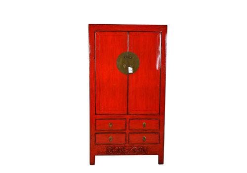 Fine Asianliving Armadio Nuziale Cinese Antico Rosso Fatto a Mano L102xP49xA188cm