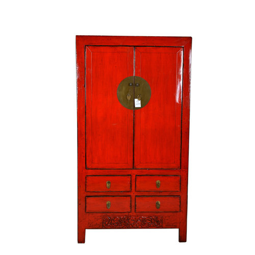 Fine Asianliving Antique Red Chinese Wedding Cabinet Leaf - Hebei