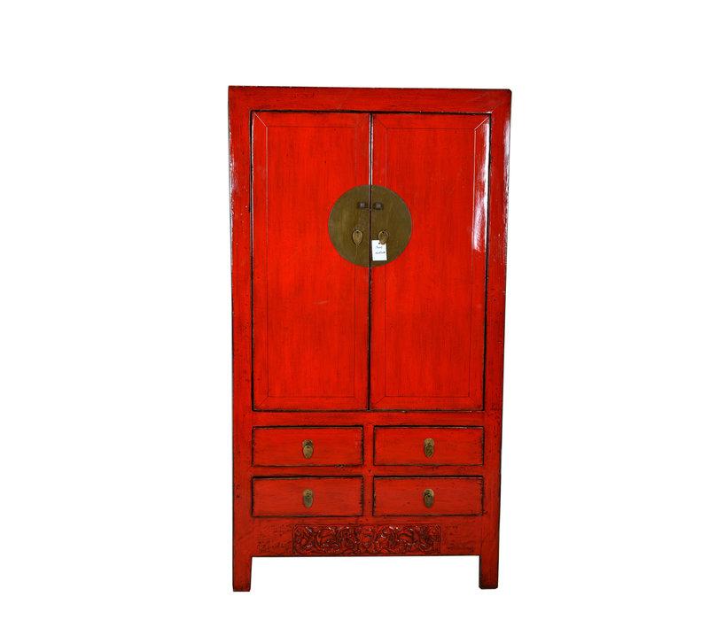 Antiker Chinesischer Hochzeitsschrank Handgefertigt Rot B102xT49xH188cm