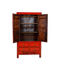 Fine Asianliving Antique Red Chinese Wedding Cabinet Leaf  - Hebei, China