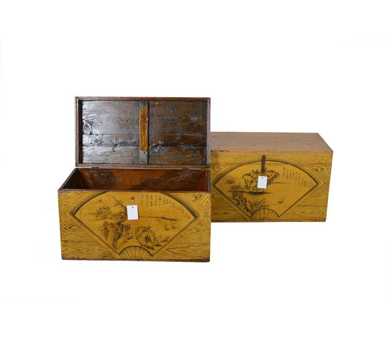 Fine Asianliving Antieke Kist Geel Huis  - Shanxi, China