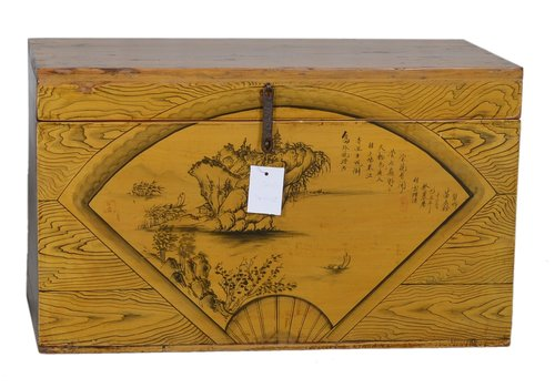 Fine Asianliving Fine Asianliving Antique Box Yellow Landscape  - Shanxi, China