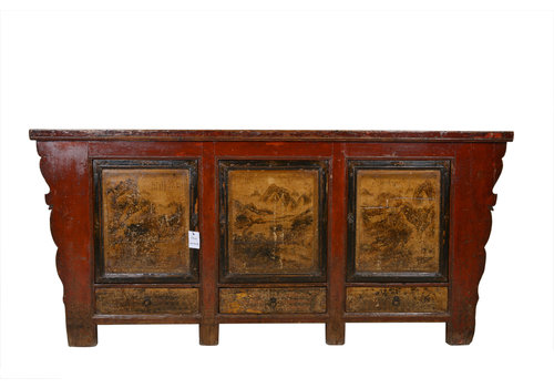 Fine Asianliving Antikes Chinesisches Sideboard Kommode Landschaft - Gansu, China
