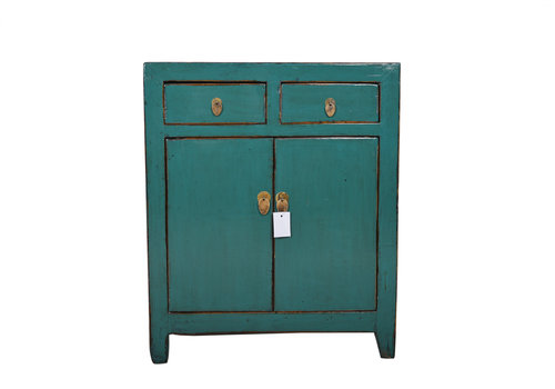 Fine Asianliving Petit Antique Armoire Chinoise Bleu Canard - Dongbei, Chine