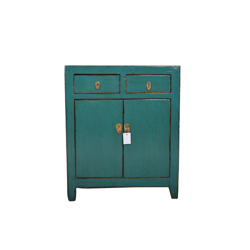 Fine Asianliving Small Antique Chinese Cupboard Teal  - Dongbei, China