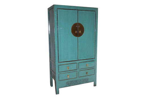 Fine Asianliving Fine Asianliving Antique turquoise Chinese Bridal Cabinet - Shandong, China