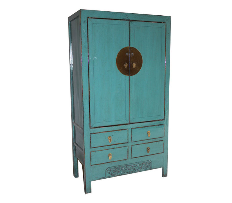 Fine Asianliving Antique turquoise Chinese Bridal Cabinet  - Shandong, China