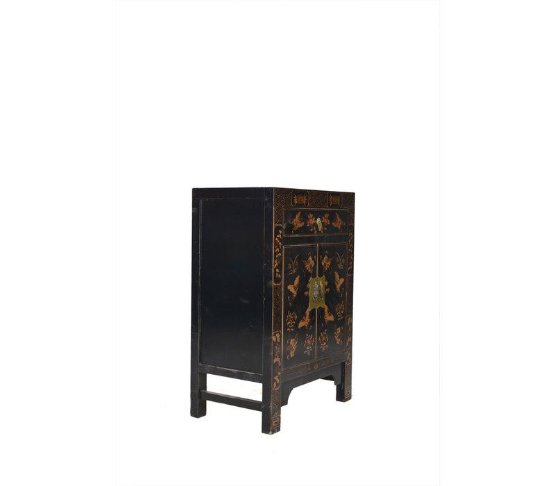 Fine Asianliving Chinese Kast Handgetekende Gouden Vlinders Zwart
