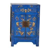 Fine Asianliving Chinees Nachtkastje Handgetekende Gouden Vlinders Blauw