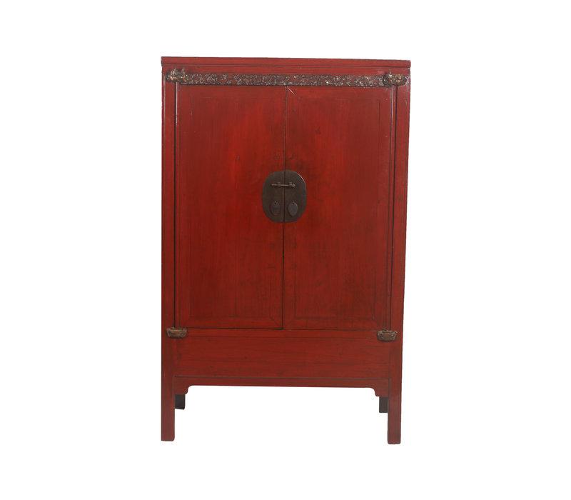 Fine Asianliving Antiek Chinese Bruidskast Rood Details - China