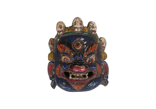 Fine Asianliving Fine Asianliving Antique Tibetan Mask Blue