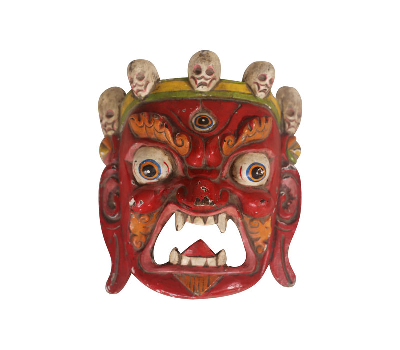 Fine Asianliving Antique Tibetan Mask Red