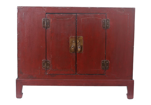 Fine Asianliving Fine Asianliving Small Antique Chinese Cupboard Dark Red - Tianjin, China