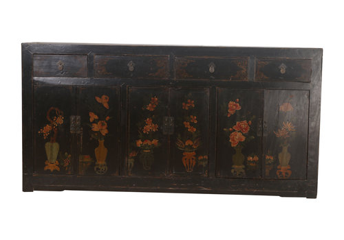 Fine Asianliving Antieke Chinees Dressoir Zwart Vaas (1900-1920) - Zhejiang, China