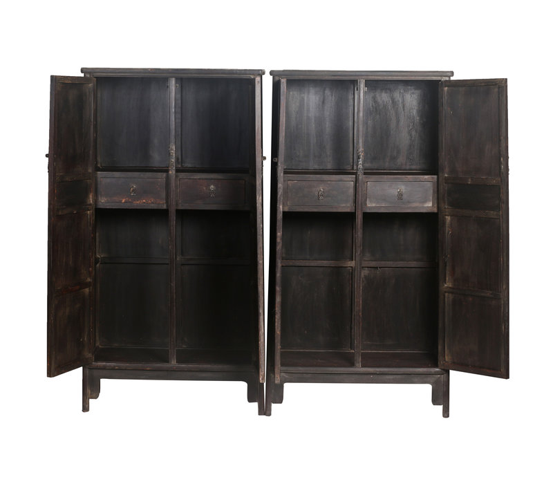 Fine Asianliving Antique Chinese Wedding Cabinets Set/2 Handcrafted W86xD39xH168cm